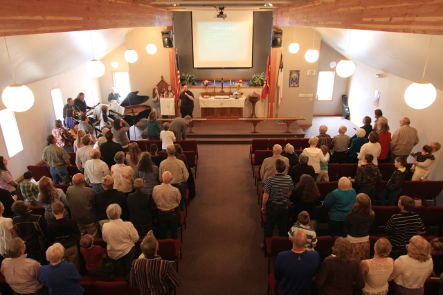 Picture of the interior of the Gardiner Community Church.